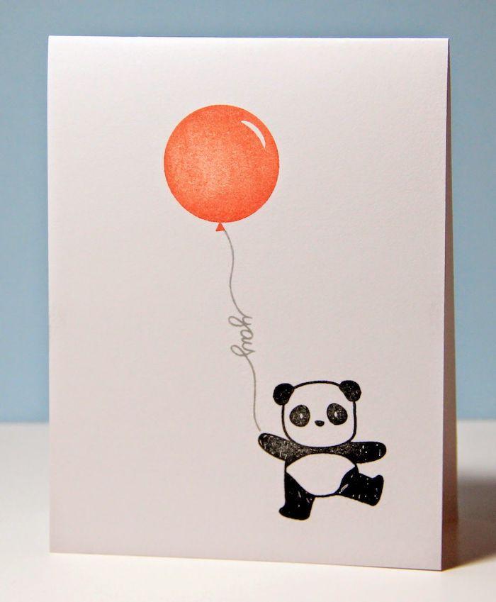 Panda et ballon adorable, dessin pour carte de voeux anniversaire, image anniversaire drole, dessin noir et blanc coloriage type
