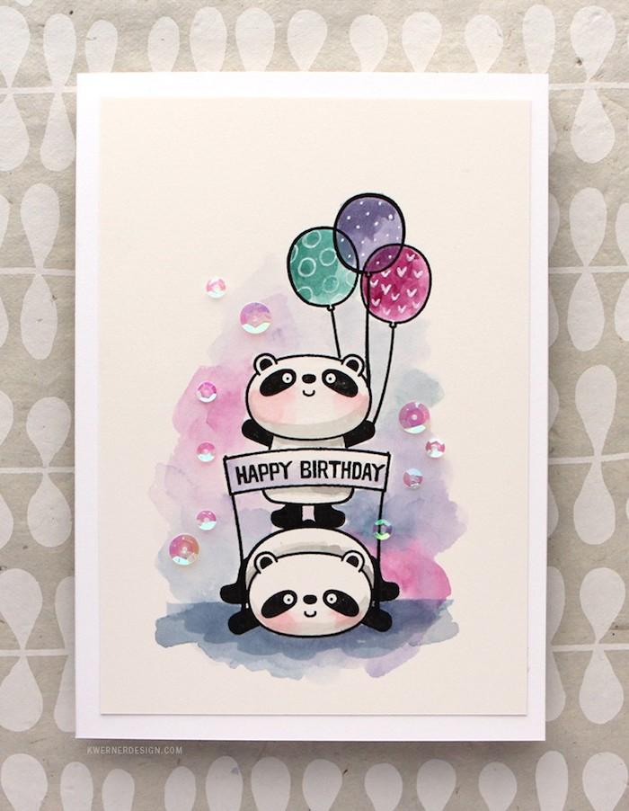 Idée carte adorable avec panda oursons et ballons, cool dessin sur base à l'aquarelle et détails en feutre noir, coloriage gateau anniversaire