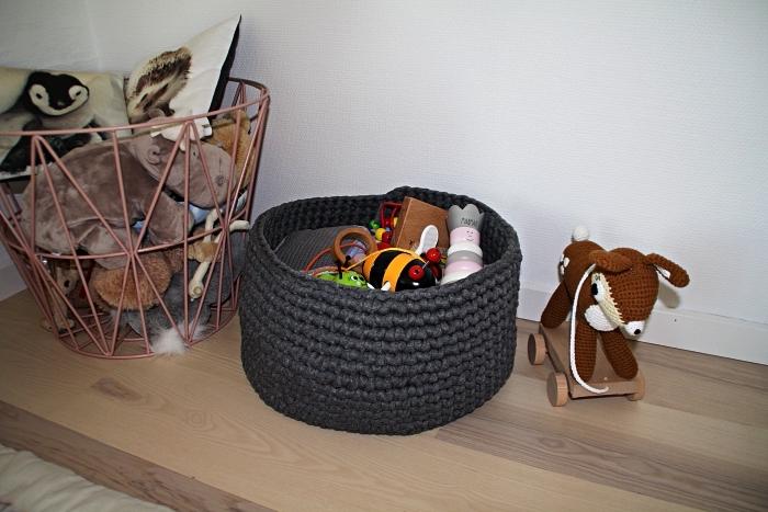 paniers de rangement tressé et métallique à design scandinave pour les jouets des enfants