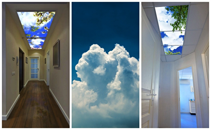 des panneaux led décoratifs à imitations cieux fixés au plafond du couloir, panneaux et dalles les pour les habitations résidentielles et les milieux professionnels