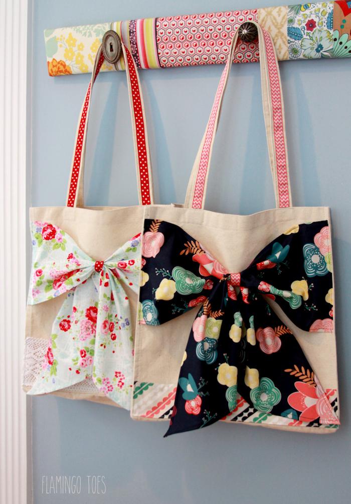 Papillons fleuries, simple déco de sac cabas, tutoriel sac en tissu, modèles de sacs en tissu à faire soi-même