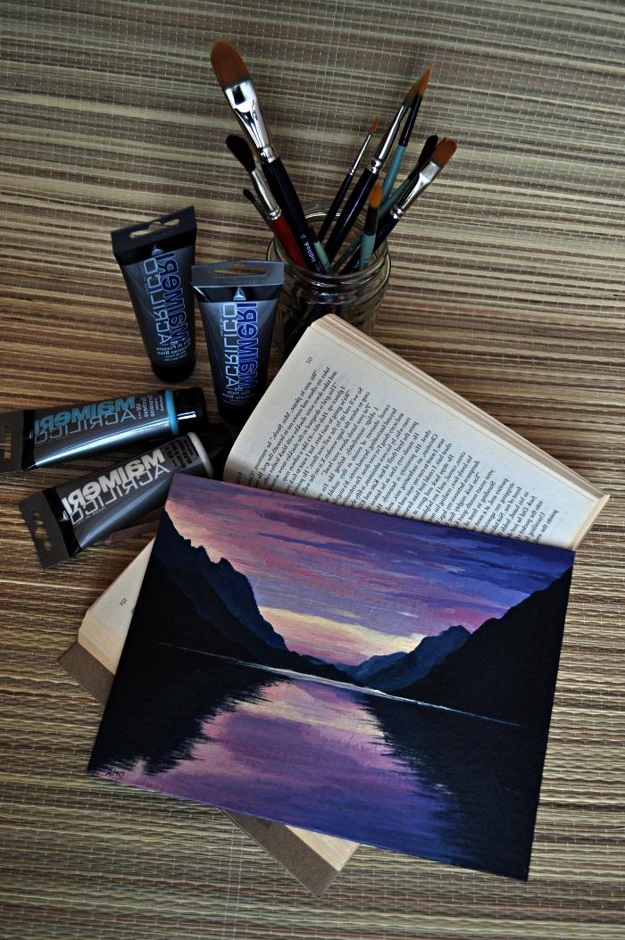 paysage coucher de soleil sur le lac réalisé à l'acrylique, idée de tableau acrylique facile pour débutants