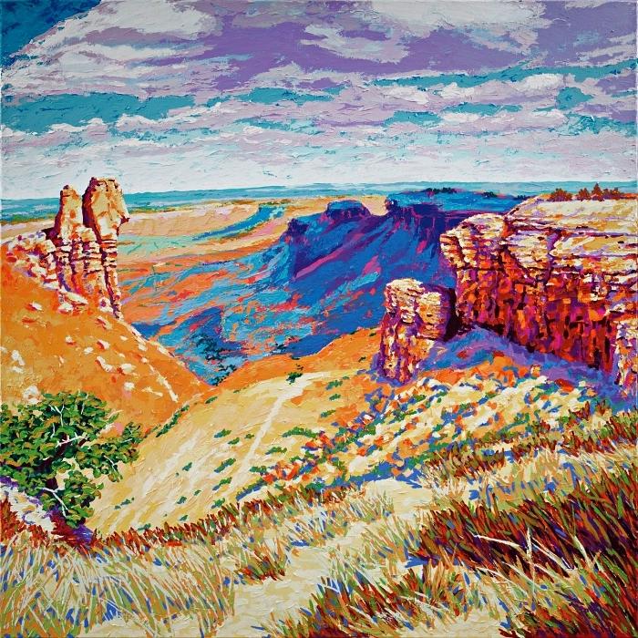peindre un paysage à l'acrylique facile, peinture moderne à l'acrylique, paysage naturel colline rocheuse