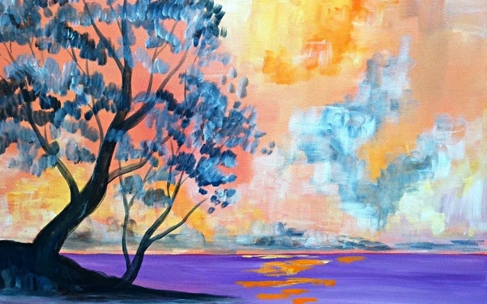 idée de tableau peinture à l'acrylique facile à réaliser soi même, paysage à l'aquarelle en bleu, violet, jaune et rose
