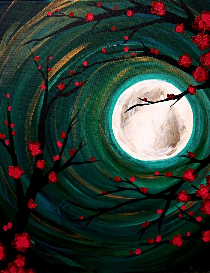 paysage nocturne semi-abstrait à l'acrylique, peinture arbre et pleine lune à l'acrylique