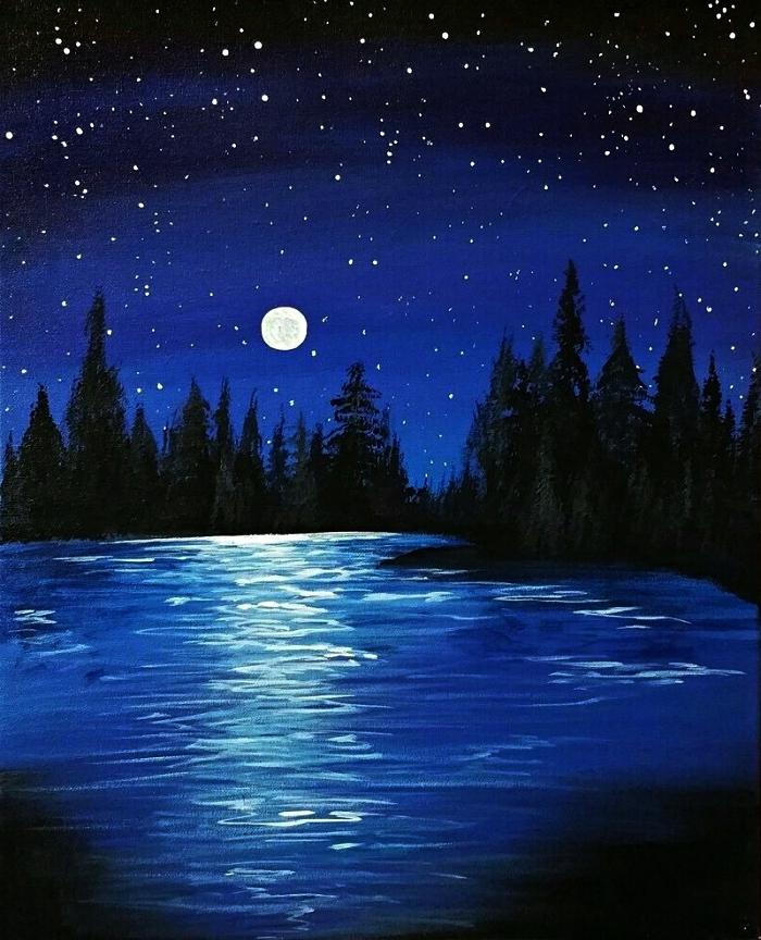 paysage nocturne reflets de la pleine lune sur l'eau réalisé à l'acrylique, apprendre a peindre un paysage acrylique