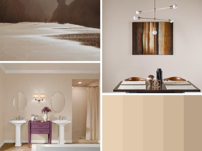 association couleur beige dans la déco, salle de bain aux murs beige avec plafond blanc, décoration pièce en couleurs neutres