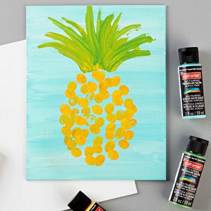 peindre à l'acrylique avec les doigts pour réaliser un joli ananas sur toile, peinture ananas sur toile