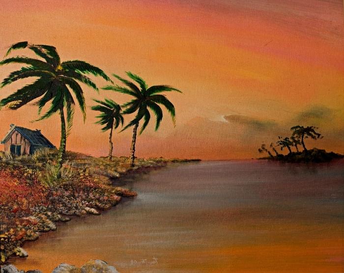 paysage tropical à l'acrylique en nuances de l'ocre, tableau acrylique sur toile paysage tropical