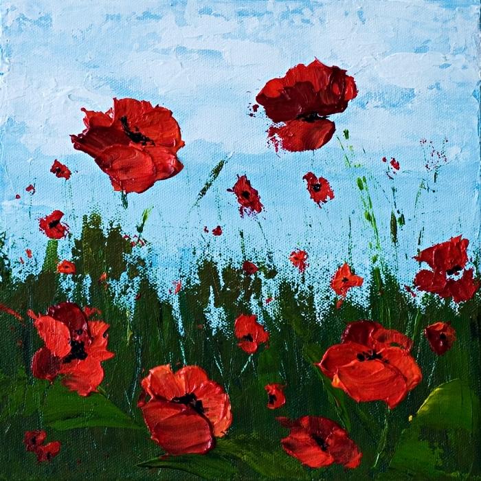 idée de peinture acrylique sur toile à réaliser soi-même, peinture à l'acrylique coquelicots en relief sur un fond bleu
