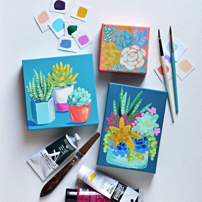 idée de peinture acrylique sur toile facile pour débuter l'acrylique, tableau succulentes multicolore à l'acrylique