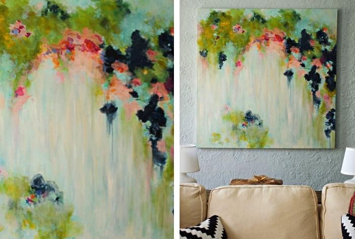 tableau acrylique design abstrait moderne accroché au-dessus du canapé, déco en tableau d'art à faire soi même