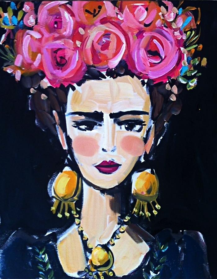 portrait de frida kahlo avec couronne de fleurs réalisé à l'acrylique, portrait artistique et multicolore