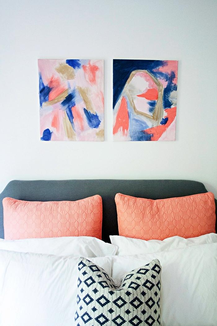 tableau peinture contemporaine réalisée à l'acrylique, deux tableaux abstraits à l'acrylique en rose et bleu
