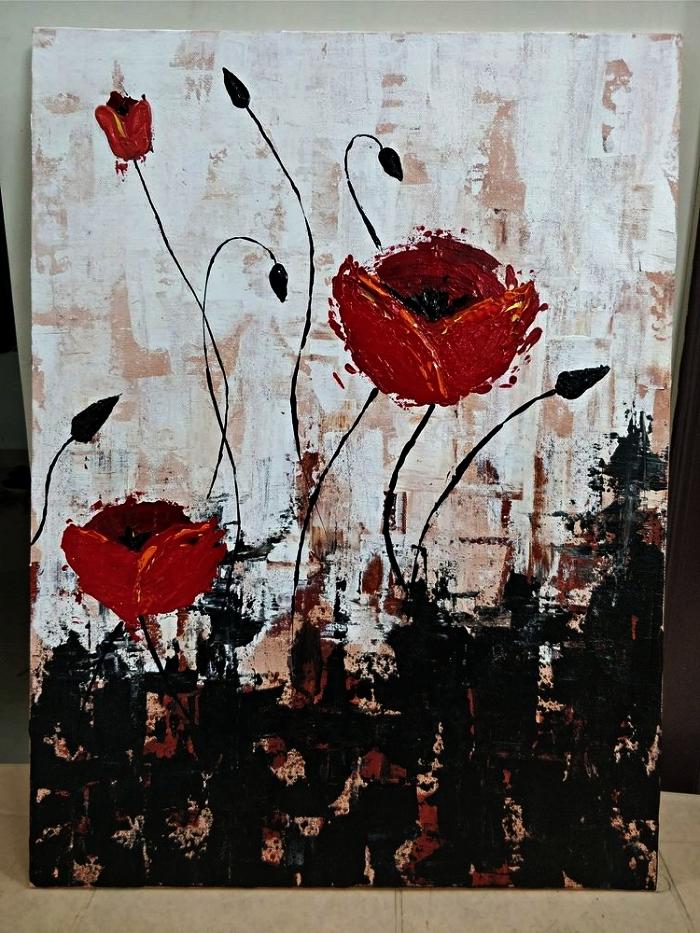 tableau contemporain coquelicots en toile réalisé à l'acrylique, tableau moderne coquelicots en rouge, noir et beige