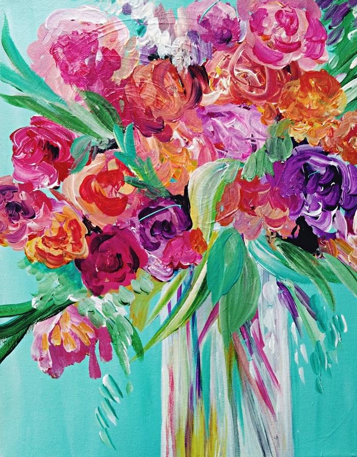 composition florale à l'acrylique sur fond vert, peinture artistique bouquet de fleurs acrylique