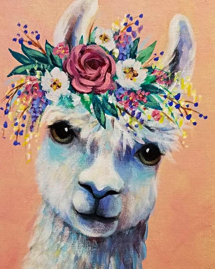 tableau facile à peindre à l'acrylique, tableau lama avec couronne de fleurs sur fond rose réalisé à l'acrylique