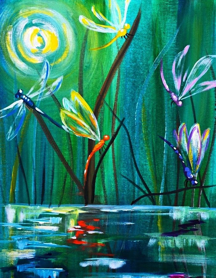 peinture moderne libellules en vol au-dessus l'eau réalisée à l'acrylique, tableau moderne à l'acrylique en camaïeu du vert