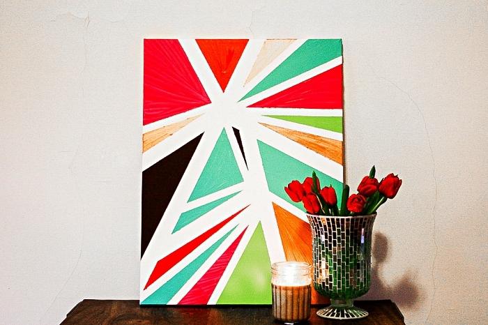 peinture moderne à motifs géométriques réalisés à l'aide du masking tape et de l'acrylique, tableau moderne géométrique