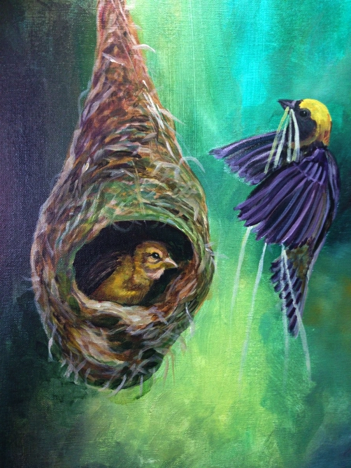 peinture artistique à l'acrylique nid d'oiseau sur fond bleu-vert, idée de tableau acrylique pour débutants