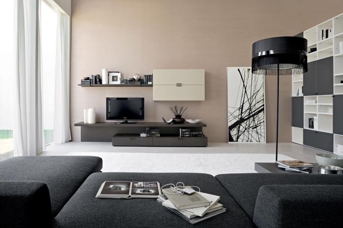 décoration de salon moderne avec peinture beige sable et meubles noirs, design intérieur contemporain avec couleurs neutres