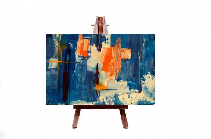art contemporain abstrait, tableau contemporaine abstrait à l'acrylique en orange et nuances du bleu