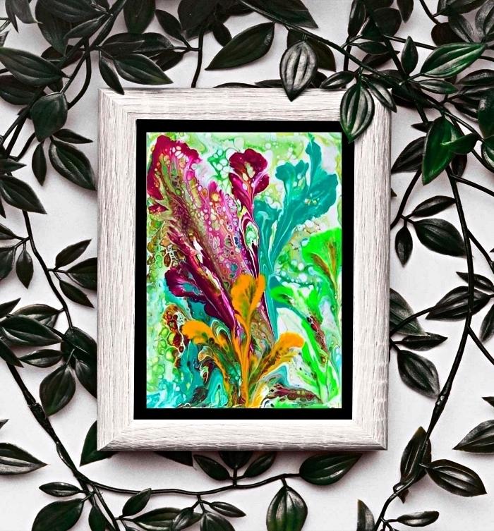 peinture abstraite moderne sur toile réalisée avec la technique peinture fluide pouring, technique facile pour créer des peintures abstraites
