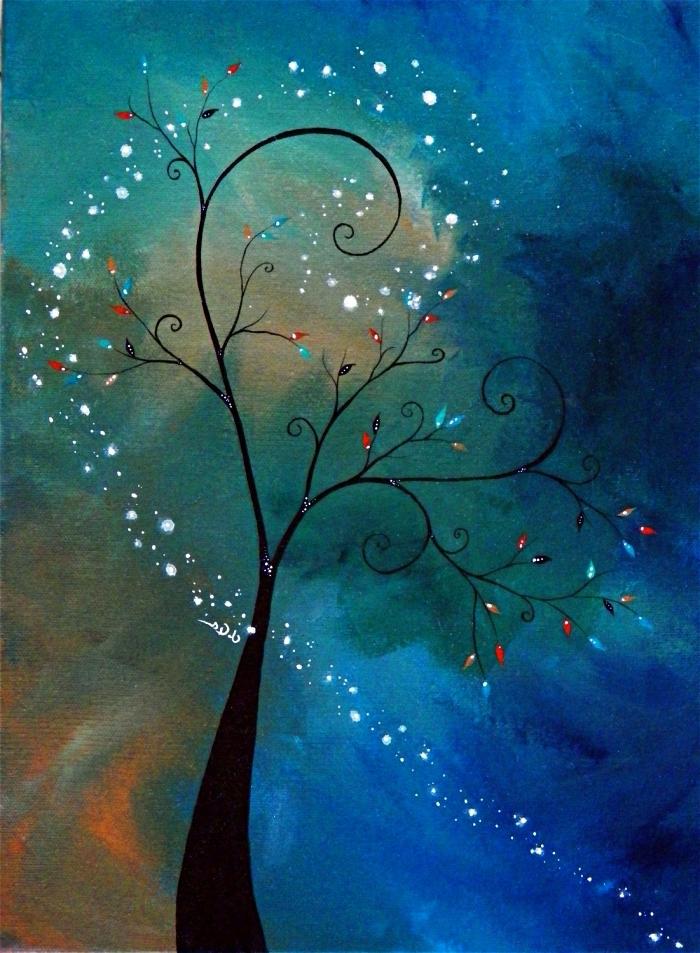 peintures abstraites modernes à l'acrylique, tableau peinture arbre stylisé sur le fond d'un ciel bleu vert