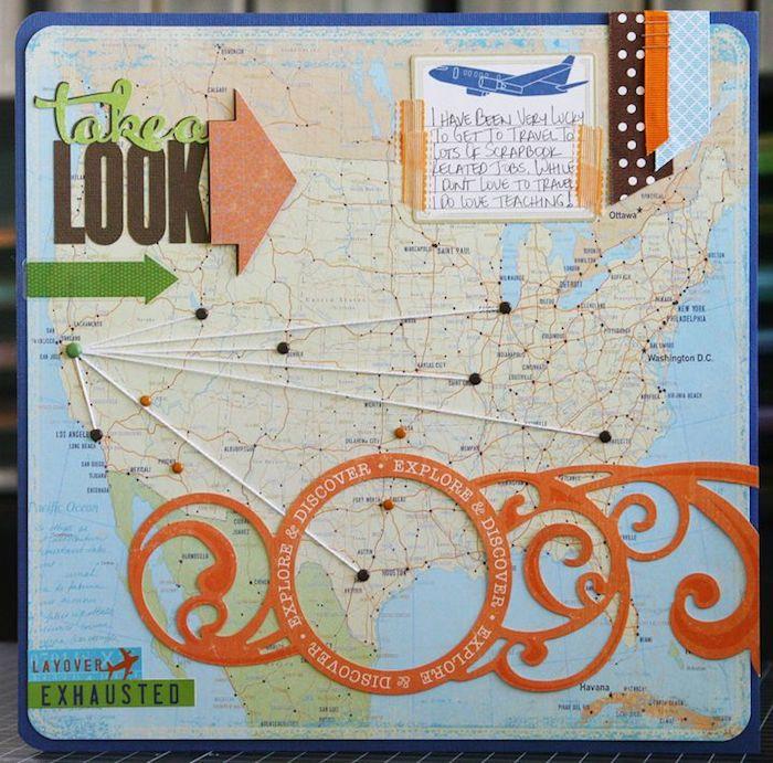 Couverture de carnet de voyage scrapbook avec carte de monde et les destinations à explorer, livre scrapbooking, scrapbooking album de voyage photographies