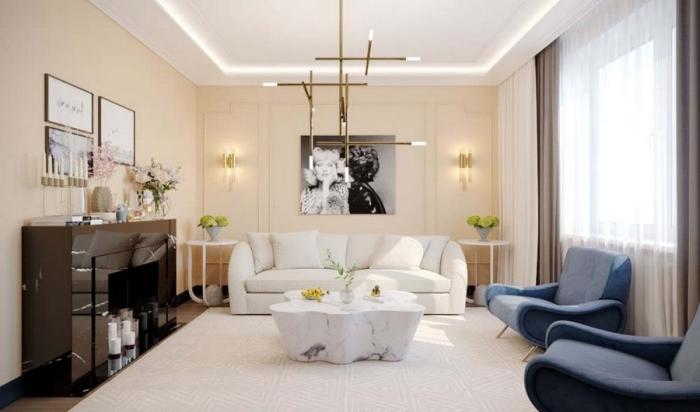 exemple de peinture beige clair dans une pièce moderne, modèle de salon beige et blanc à déco élégante et contemporaine