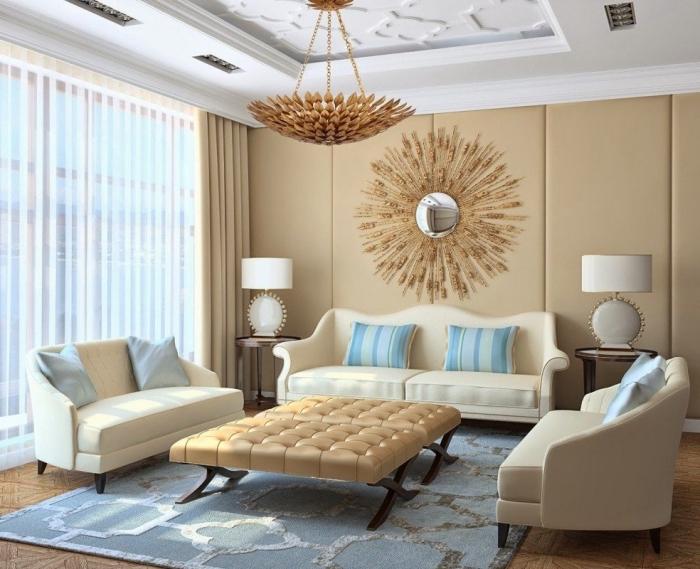 design moderne dans un salon beige avec plafond blanc et sol bois, idée déco en couleurs neutres avec accents en bleu