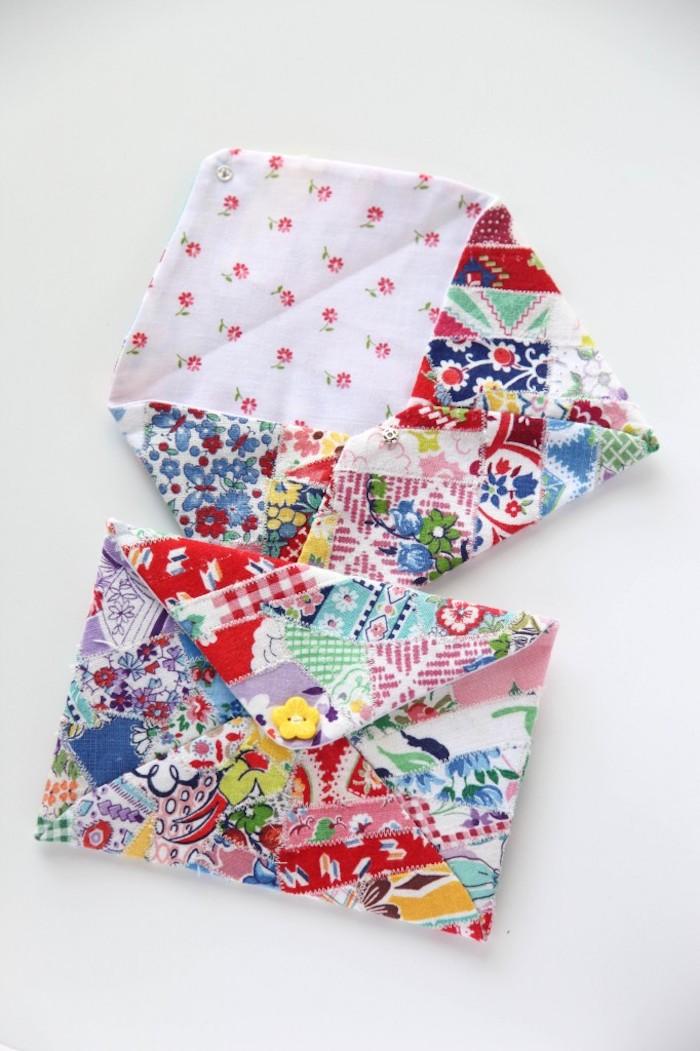 Pochette tissu fleurie avec autre tissu pour le dessus, couture facile, diy modèles de sacs en tissu tendance