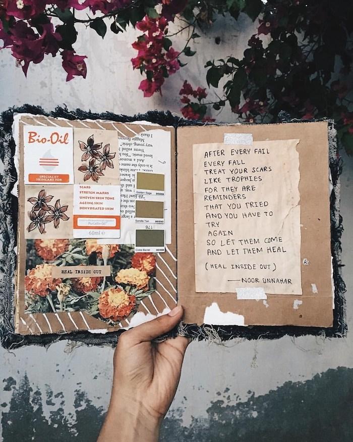 Poésie sur une page et collage sur autre, idée organisation carnet inspiration et mémoires, photographie scrapbooking matériel, fabriquer un carnet de voyage