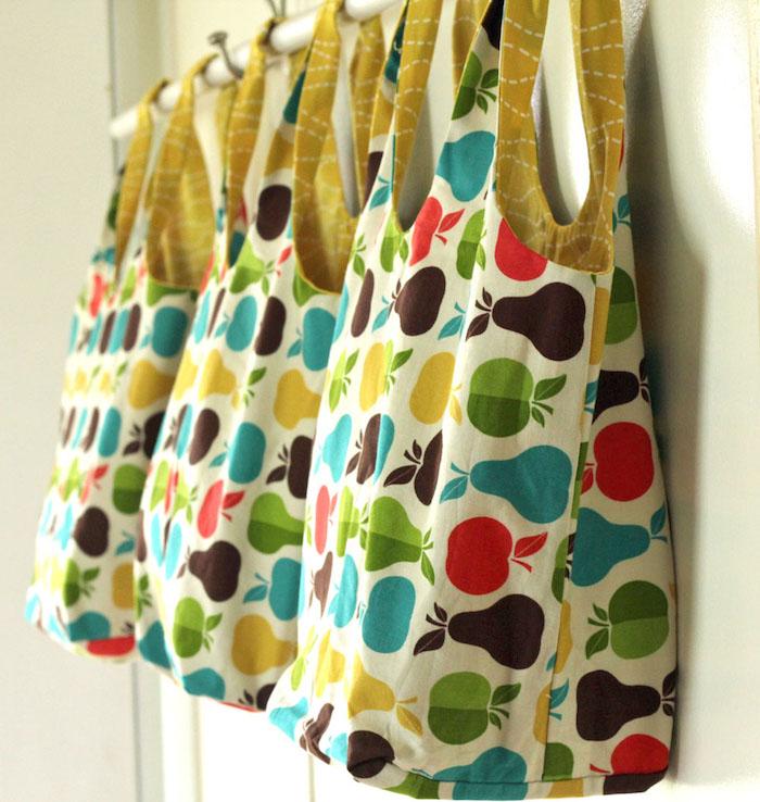 Sac en tissu simple pommes et poivres colorés, sac en tissu, les sacs en tissu à faire soi-même sans couture