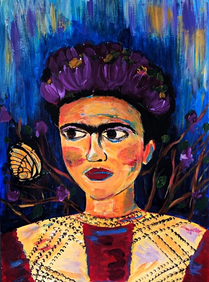 portrait de frida kahlo à l'acrylique, peinture artistique portrait multicolore à l'acrylique de frida kahlo