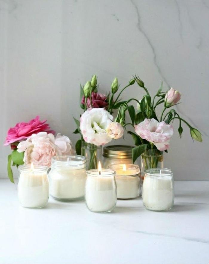 différents modèles de bougies fait maison, creation bougie facile et rapide, récipients pour bougie résistant à la chaleur