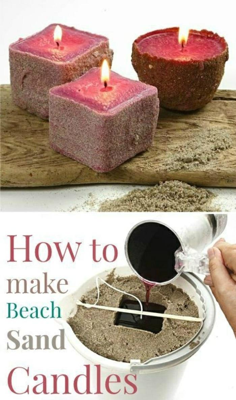 comment fabriquer une bougie avec cire fondue colorée et sable, modèle bougie rouge fait maison avec sable