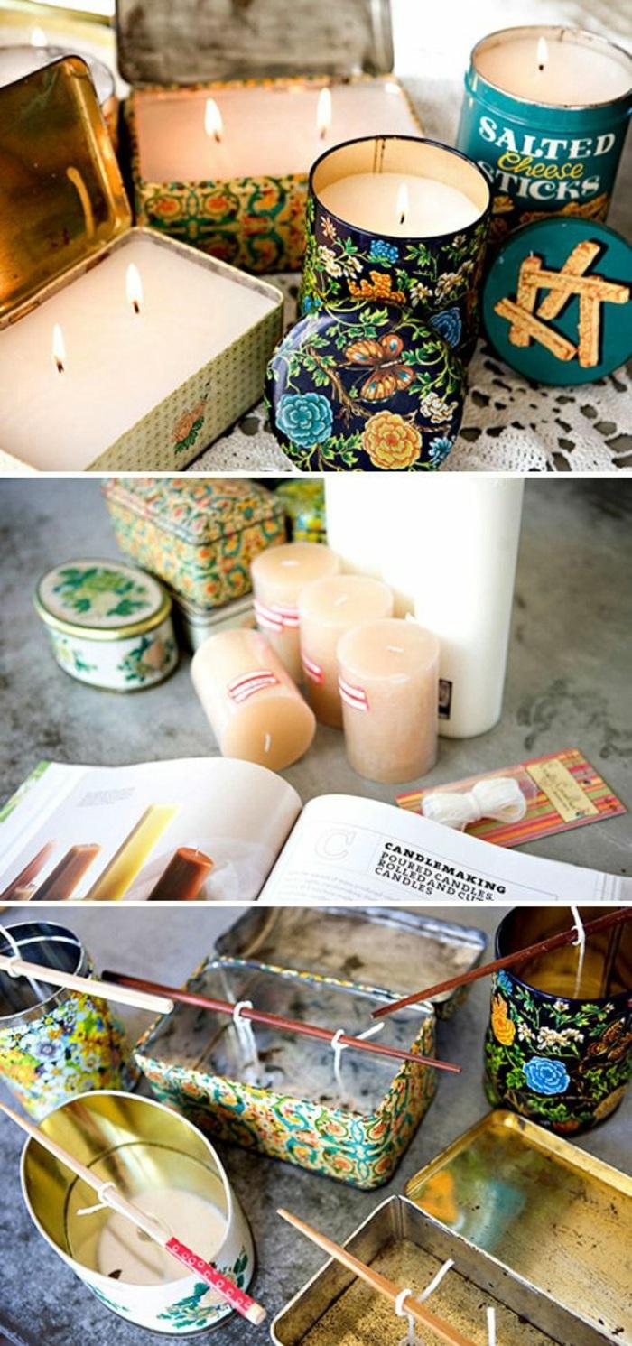 fabrication de bougie artisanale, boîte métal remplie de cire bougie fondue, cadeau original à faire soi-même