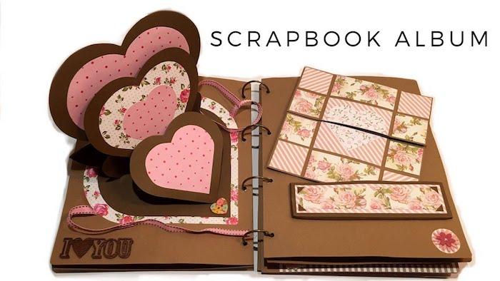 Coeur pages qui s'ouvrent sur une page de carnet album de photos, fabriquer un carnet page scrapbooking, image page de carnet