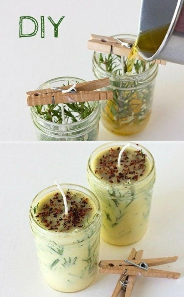 création bougie huile essentielle, activité manuelle facile, faire ses propres bougies dans un pot en verre avec cire et mèche