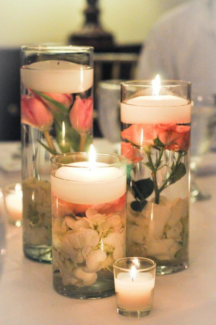 modèles de bougies gel en formes variées décorées avec fleurs, contenant en verre rempli de gel bougie et pétales