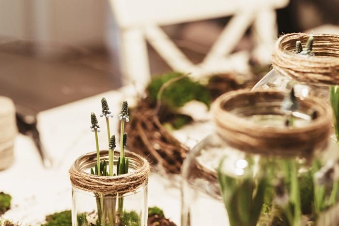 activité manuelle facile et rapide, pot en verre décoré avec cordelette naturelle, objets de déco DIY simple et rapide