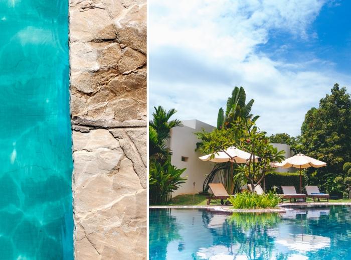 quel matériau pour une terrasse piscine, amenagement autour piscine photos, exemple de jardin avec piscine et arbres