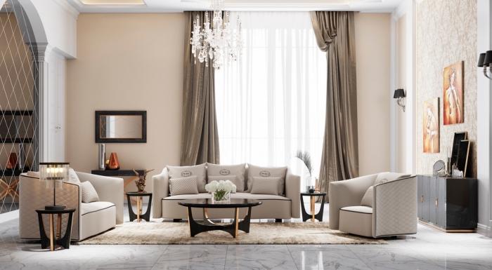 design salon luxueux au plancher carreaux marbre avec peinture beige sable et plafond blanc, meubles de salon beige et noir