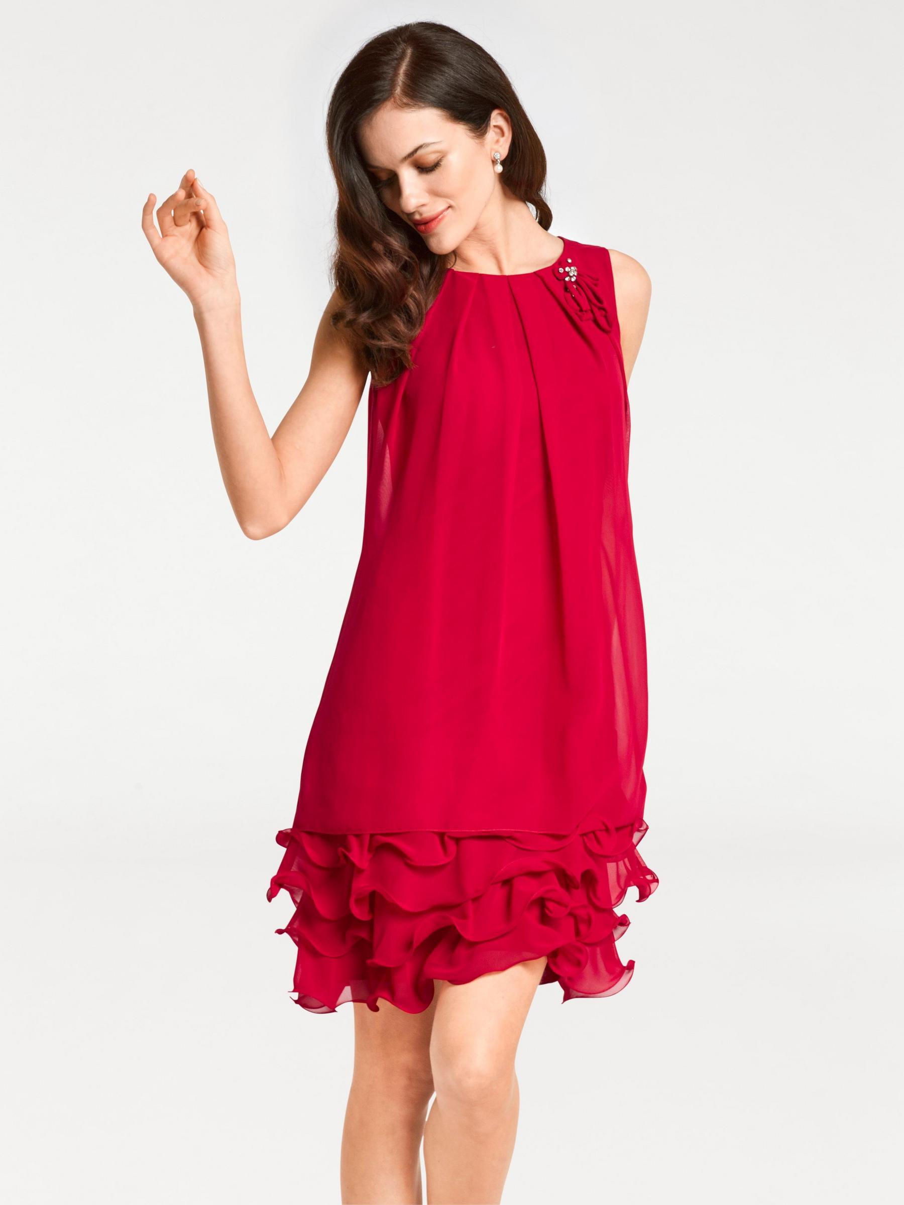robe à volants bas, sans manches et rouge comme la passion pour des soirées élégantes mais endiablées