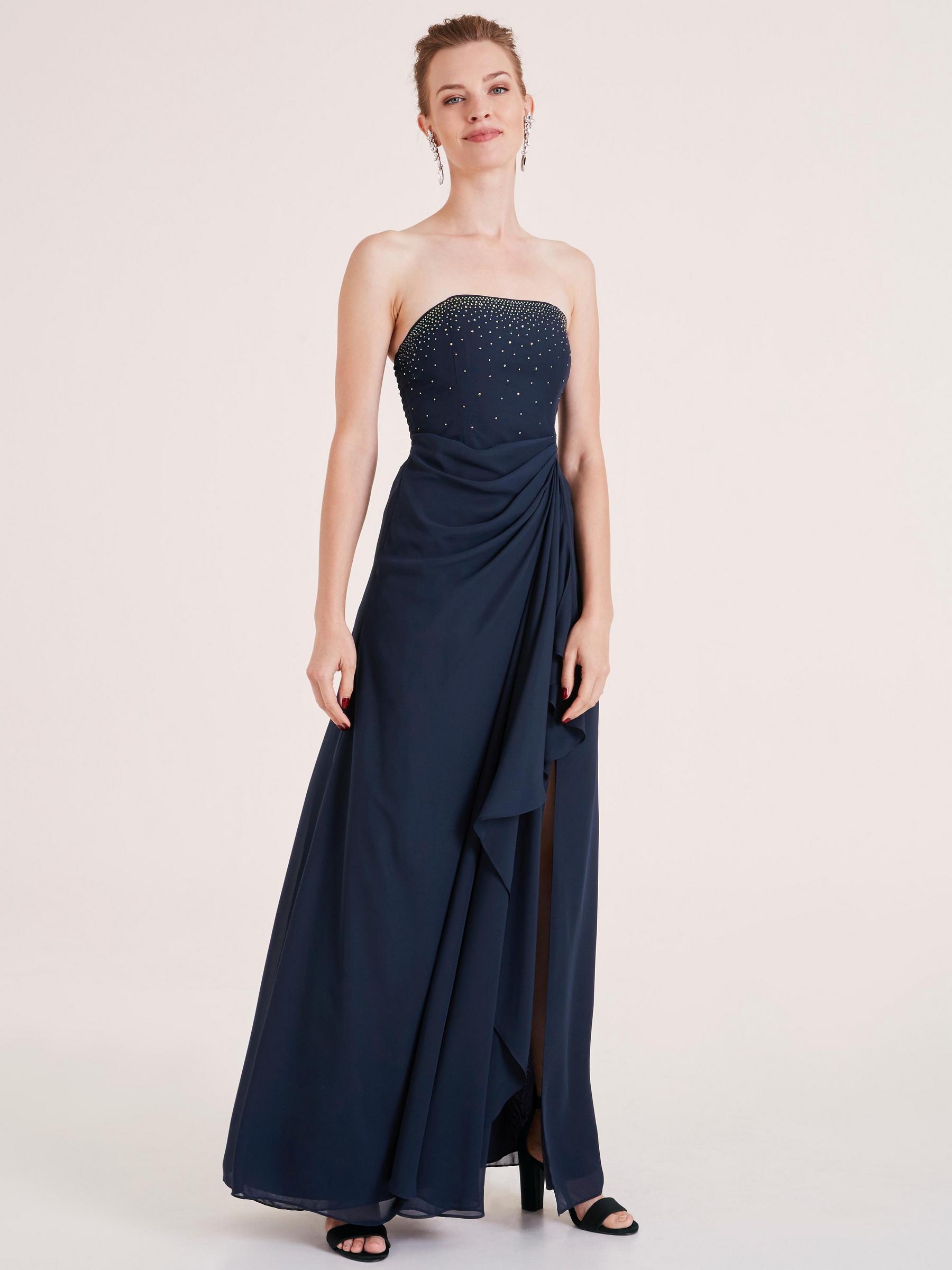 modèle de robe bustier longue bleu marine, avec strass sur la poitrine