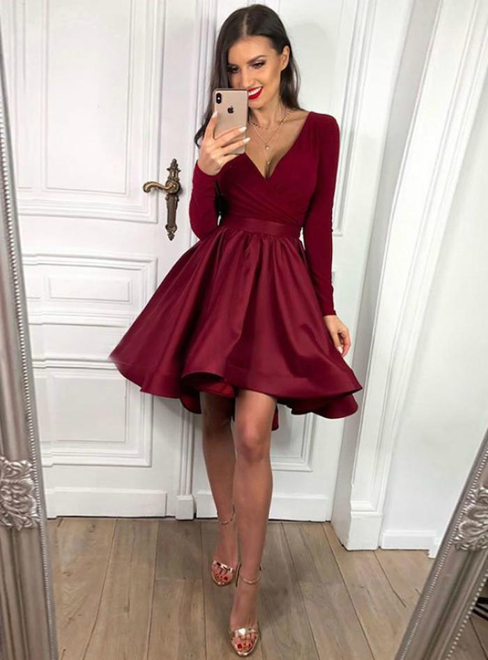 Robe trapèze bordeaux couleur, robe à manche longue, vetement annee 50, tenue guinguette femme inspiration