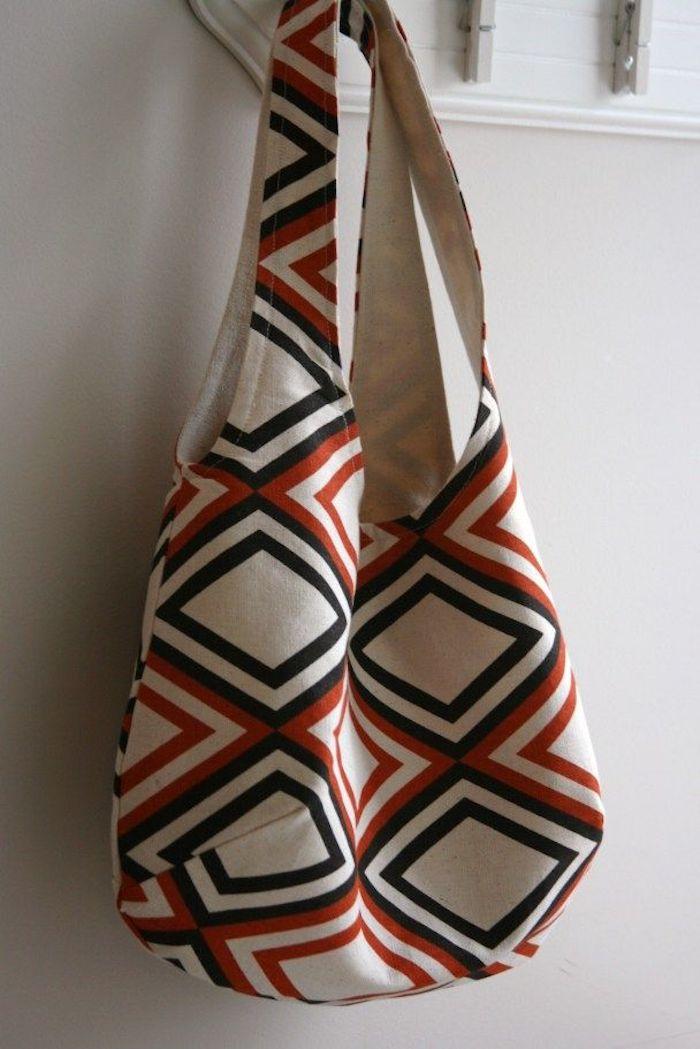 Sac cabas blanc à motif géométrique modèles de sacs en tissu à faire soi-même, activité manuelle