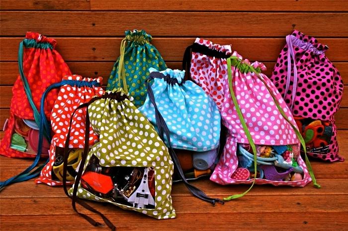 sac de rangement jouets avec fenêtre transparente en tissu imprimé pois, sacs de rangement jouets cousus à la main