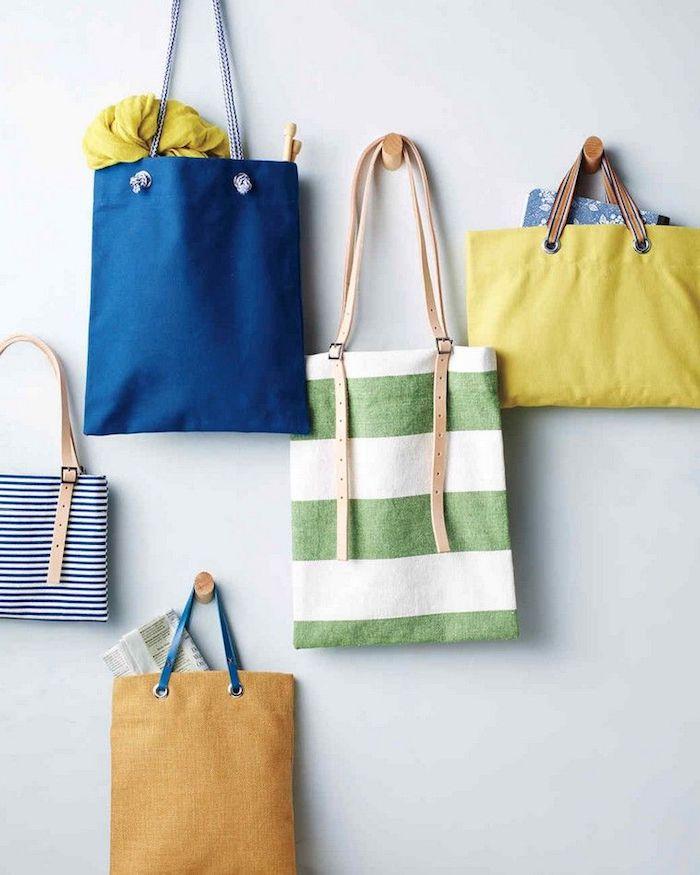 Quelques idées de sac coloré simple carré forme, tuto couture, confection d un sac en tissu, inspiration loisir créatif